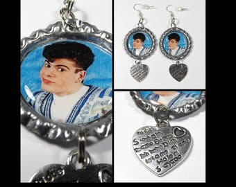 Jordan Knight Earrings w/ Heart Charms FREE SHIPPING NKOTB New Kids On The Block