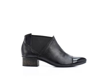 Black Leather Boots / Ankle booties / Stretch Side Panel Boots /Womens Shoes / Casual Leather Boots / Designer High Heels - Rhine