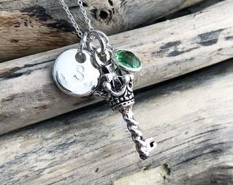 Sterling Silver Key Necklace, Skeleton Key Pendant Necklace, Love Necklace, Crown Key Sterling silver pendant, SUE013