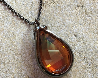 Amber Glass Pendant, Amber Necklace, Trending Item, Statement Necklace, Gift For Her