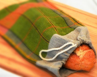 Reusable Green Plaid and Natural  Linen Bread Bag