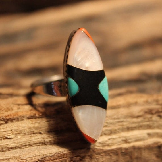 Navajo Zuni Native American Silver Ring Weight 4.9 grams Size 7  Singed J Turquoise Coral MOP  Inlay Sterling Silver Ring  Native American