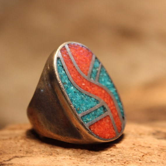 Mens Ring Heavy Sterling Silver Navajo Native American Vintage 19.5 grams Size 9 Mens Ring large Silver Navajo Turquoise Coral Inlay Ring