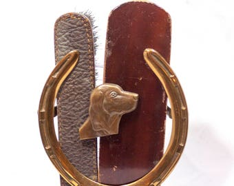 Vintage Art Deco Bronze Clothing Brush Set c. 1930 Dog, horse shoe, lucky