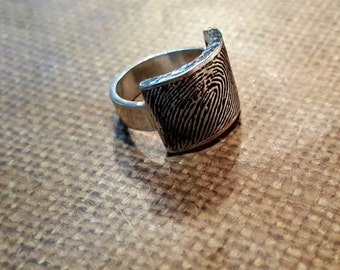 Oversized FINGERPRINT RING in .999 SOLID Fine Silver-wide 6mm band-with hammered textured
