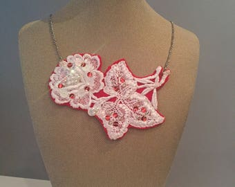 Red/ Romantic/ Lace Statement Necklace Hand-Sewn