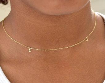 Initial necklaces triple 14k,Letter necklace,Alphabet necklace,Double letter necklace,Single initial letter necklace,pink initial necklace.