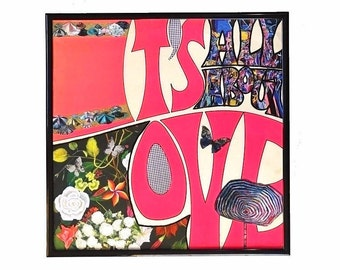 Vinyl Cover Floral Graffiti Collage Original Mixed Media Artwork Painted Words Framed Record Cover Upcycle Valentine's Day Gift
