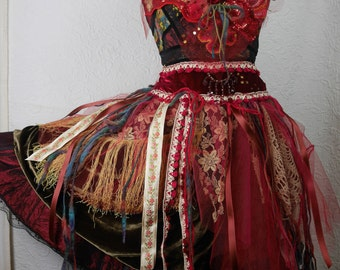 """Very Romantic Dress and her """"Passionate Red Rose"""" necklace, Boho dress, Very Feminine, Art to Wear, Unique Piece"""