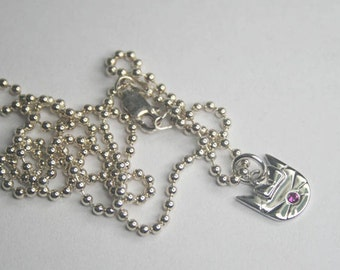 JP7.  Sterling Silver Cat / Kitty Necklace with Lab Created Ruby Stone