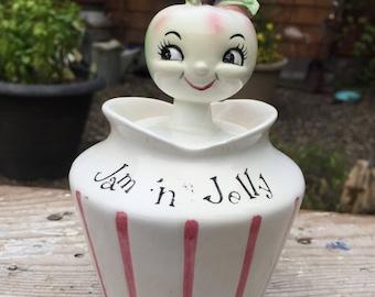 Vintage Lefton Anthropomorphic Pixieware Jam 'n Jelly Condiment Jar W/ Apple Head Spoon Lid