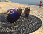 MidNiGHT Blue Reflective AVIATOR Sunglasses unisex Men Women, Artisan Wire Wrapped Glasses ~ Unisex Mens Women's Eyeglasses Sun Glasses NEW