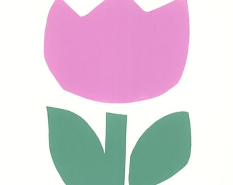 TULIP DANICA by Jane Staffier*Tulip Art**Silkscreen*Floral Art**Jane Staffier**Modern Art**Whimsical*Watercolor*Tulip Greeting Cards*Tulip
