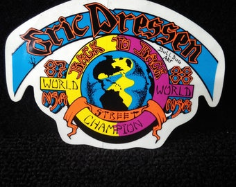 1980s Eric Dressen Skateboard Decal Bulldog Skates Artwork Very Sharp