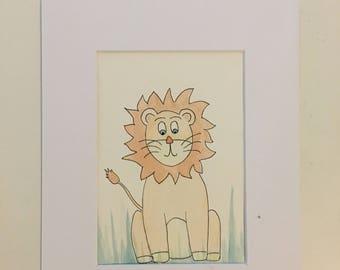 lion hand painted original nursery watercolor