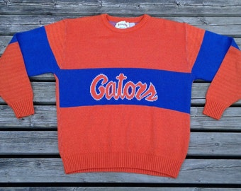 Vintage 80's University of Florida Gators Knit Crew-neck Sweater Nutmeg Mills Made in USA