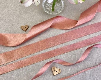 "Rose Gold Ribbon - 1/8"" 3/8"" 5/16"" 1"" 1 1/2"" - 1/3/5m Lengths - Wedding Invitation - Cake Embellishment - Bridal Shower - Sparkle Satin"