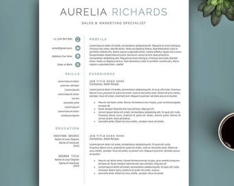 Professional Resume Template for Word and Pages. Complete 1,2,3 Pages Template. Fully Editable CV Template. Modern Resume Template.
