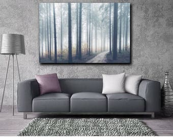 Foggy Forest Photography, Trees in Fog Nature Art Prints, Landscape Photo, Large Wall Art Tree Print, photo download printable art