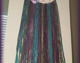 Burgundy Teal Dreamcatcher, Handmade, Floral, Home Accent, Gypsy, Wall Hanging, Bohemian, Housewarming, Tapestry, Macrame, Baby shower