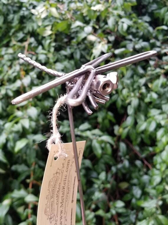 Metal Dragonfly, Recycled Metal Dragon Fly, Metal Anisoptera Sculpture, Welded Dragonfly, Metal Art, Steampunk, Yard Art, Garden Stake