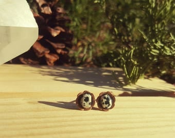 SPOTTY - Dalmatian Jasper, Natural Stone Studs, Raw Jasper, Gemstone Earrings, Stainless Steel, Dalmatian Earring Studs, Grounding Stones