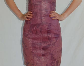Vintage dress // Strapless dress //  leather mini dress // size 4 // women's dress // leather dress // vintage leather // mini dress
