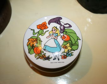 Vintage Disney Productions Alice In Wonderland Porcelain Trinket Dish