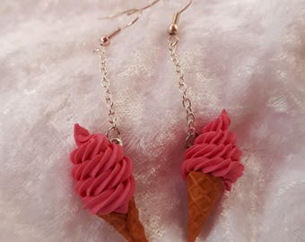 Raspberry ice cream earrings
