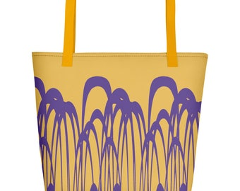 Canvas tote bag in Yellow and Ultraviolet, Funky Beach Bag, Printed Shopping bag, Abstract Scandinavian design, Inside pocket, 16 x 20