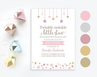 Twinkle twinkle little star pink baby shower invitation | Little star invite | Baby girl printable invitation | Girl baby shower pink stars
