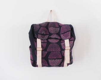 Hand-printed navy canvas backpack