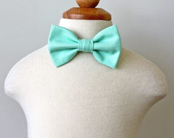 Mint Bow Tie, Cotton Bow Tie, Ring Bearer Bow Tie, Boys Bow Tie, Toddler Bow Tie, Baby Bow Tie, Holiday Bow Tie, Rustic Wedding Bow Tie