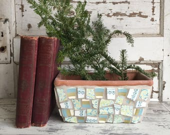 Broken China Mosaic Flower Pot - Window Box Style -Perfect for Succulents