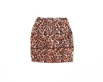 90s Velvet Mini Skirt 1990s Fuzzy Leopard Animal Print Wiggle Pinup Soft Grunge Pastel Goth Kinderwhore Gothic Riot grrrl Pencil Extra Small