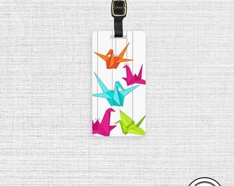 Luggage Tag Paper Cranes Rainbow Origami Luggage Tag Personalized Luggage Tag - Single Tag