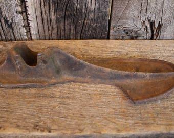 Vintage Cast Iron Cobbler Shoe Mold - Heavy Black Cast Iron Shoe Forms for Shoemaker - Home Decor - Man Sized - Large Antique Shoe Form