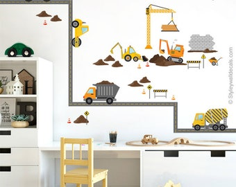Excavator wall decal etsy for Construction site wall mural
