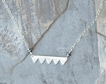 Saw Necklace, Sterling Silver Necklace, Triangle Necklace, Jagged Necklace, Geometric Necklace, Modern Necklace, For Her