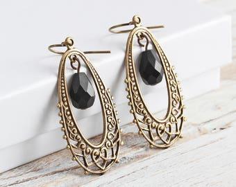 Antiqued Brass Filigree Teardrop Earrings with Black Czech Glass Drops