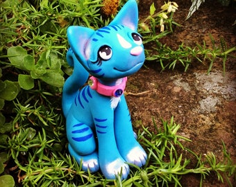 Blue Kitty Cat made from Polymer Clay