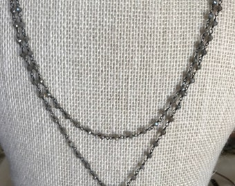 Mystic Labradorite & Pearl Sterling Silver Necklace