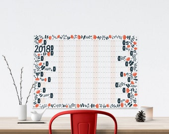 2018 Year Planner, Wall Calendar, Modern Wall Planner, Illustrated Planner, A2 Wall Planner, 12 Month Calendar, Large Wall Calendar,