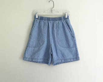 1990s light high waisted elastic square pocket shorts - size small