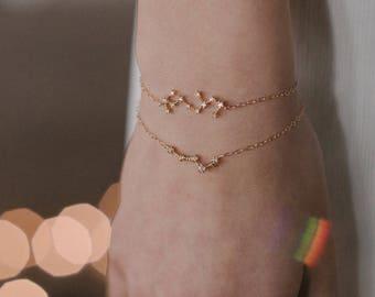 NEW Centauri Bracelet - constellation bracelet gold filled 14k crystal - bridal star bracelet - celestial bracelet art deco  wedding jewelry