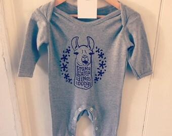 Screen Printed Llama Romper Baby Suit 3-6 Months