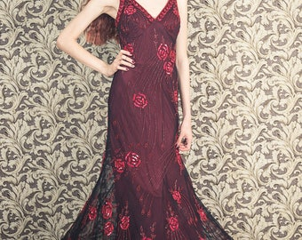 Vintage Beaded dress, floral red roses on mesh, 1930s inspired dress, maxi party dress, bohemian dress, embroidered evening dress, s to xs