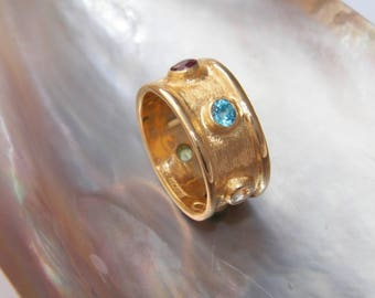 Hand Made.925 Sterling Silver Natural Multistones Ring 1 micron 18 K Gold Filed -Custom Size