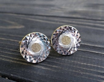 Round cufflinks geometric pattern diamond cut men cufflinks Soviet gold tone metal cuff links hipster fashion Father gift Wedding groom gift