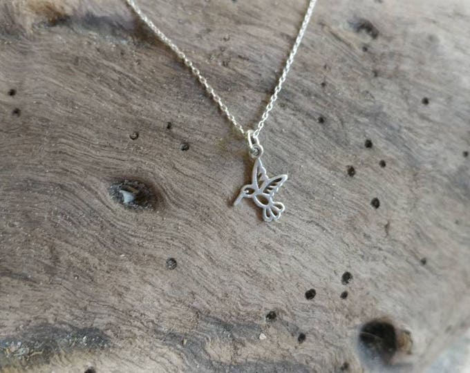 Tiny Hummingbird Necklace, Sterling Silver, or, Gold Filled, Bird Pendant, Silver Bird Necklace, Dainty, Tiny Bird Necklace